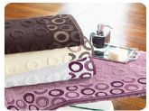 66. circle design high-low pile jaquard towel